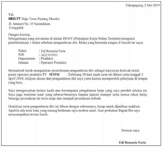 Contoh Surat Pengunduran Diri Karyawan PT