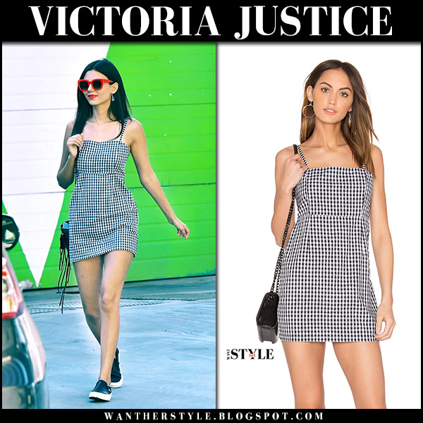 Victoria Justice in gingham print black and white mini dress lioness august 30 2017