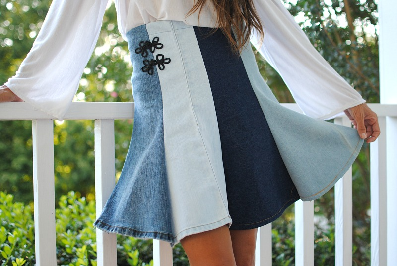DIY Upcycled Denim Skirt