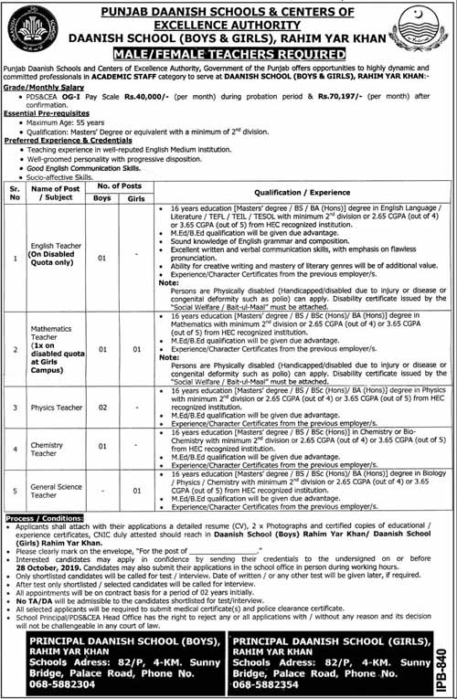 Jobs in Punjab Daanish Schools