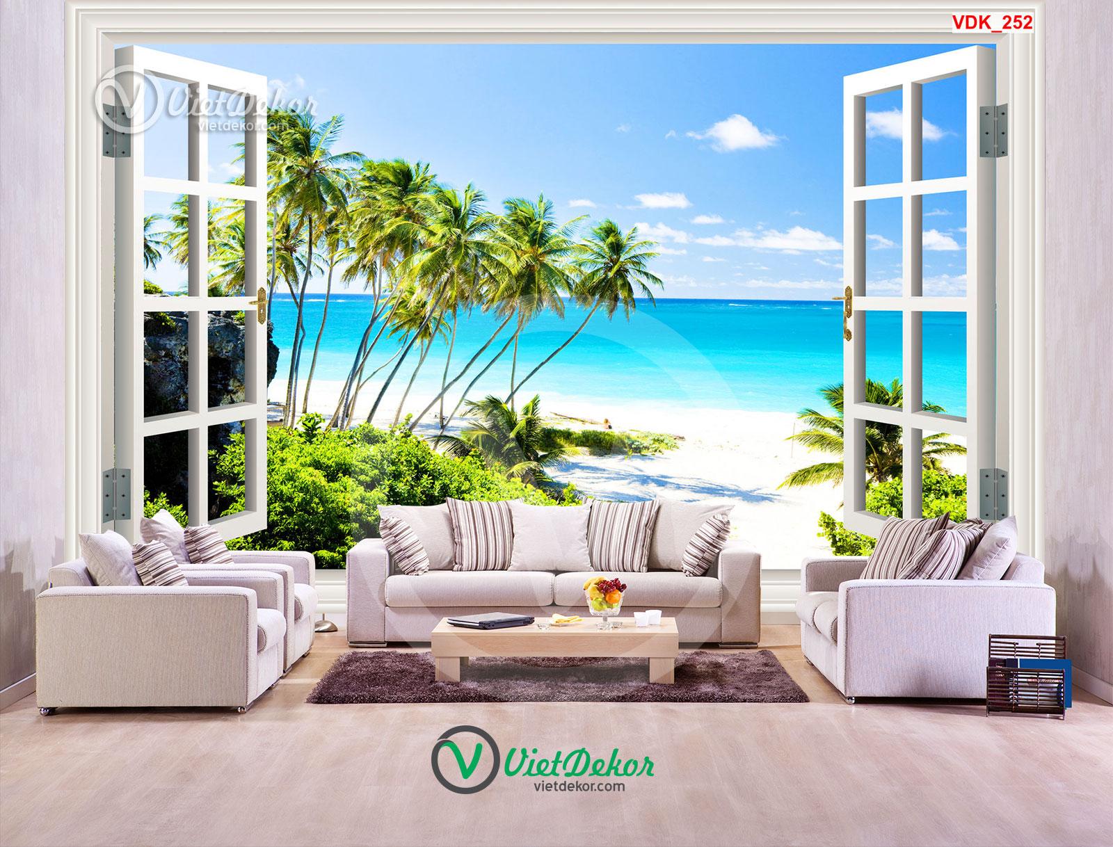 Tranh dán tường 3d cửa sổ bãi biển và cây
