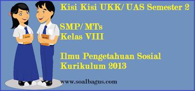 Download/ unduh kisi kisi soal ulangan UKK/ UAS IPS Kelas 8 semester 2/ Genap Kurtilas www.soalbagus.com