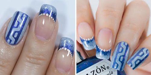 como finalizar a decoração de unhas com esmalte azul
