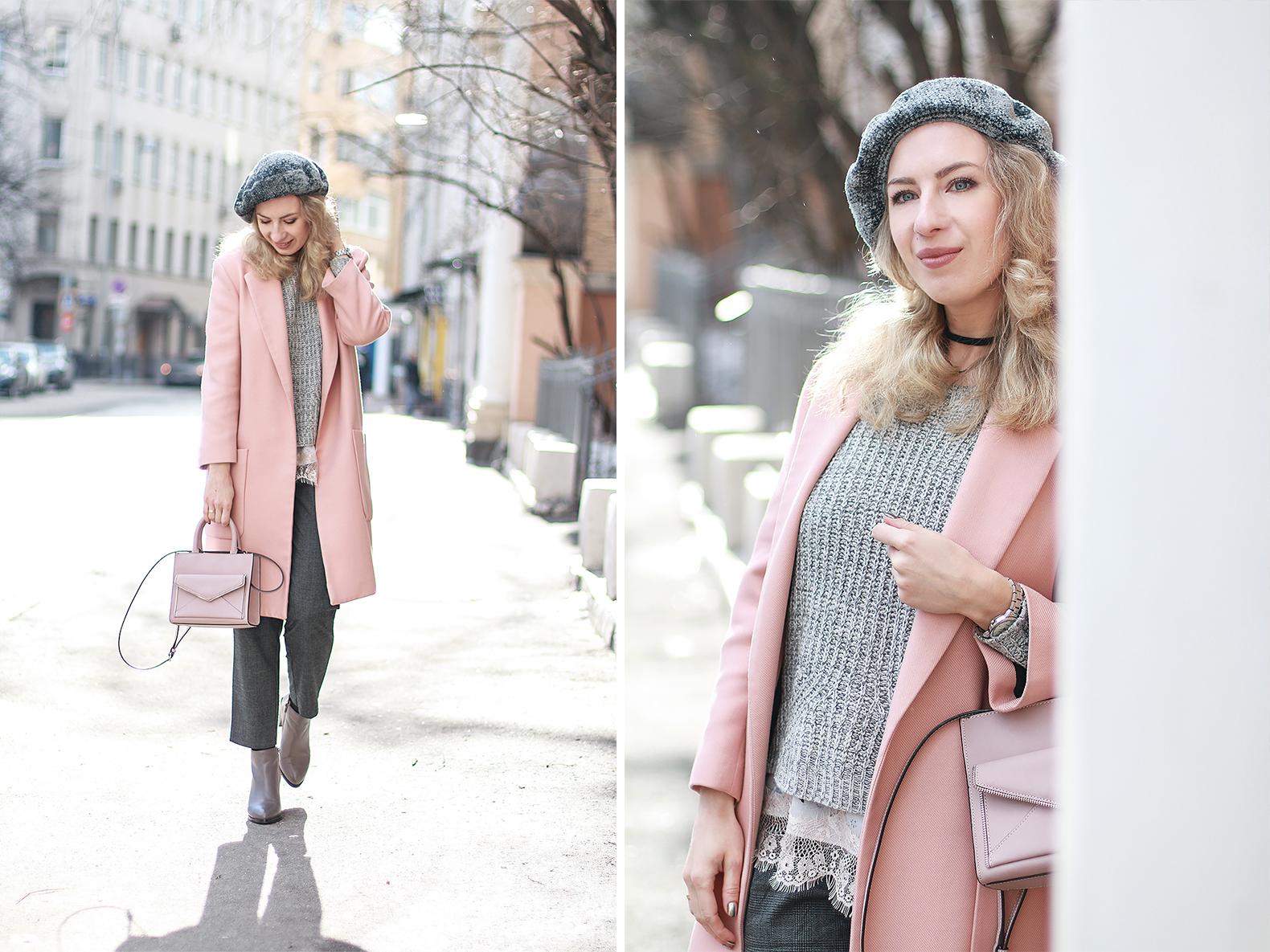 Margarita_Maslova_Ritalifestyle_Fashion_blogger_Moscow_pastel_spring_looks_pink_coat_beret_velvet