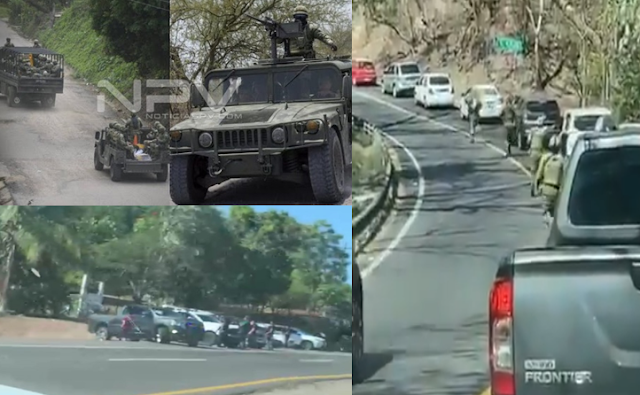 La gente grita, corre asustada, hay soldados también corriendo, se escuchan granadazos, VIDEOS exhiben el pánico por pelotera en Guayabitos, Nayarit, otro video muestra un convoy de Sicarios