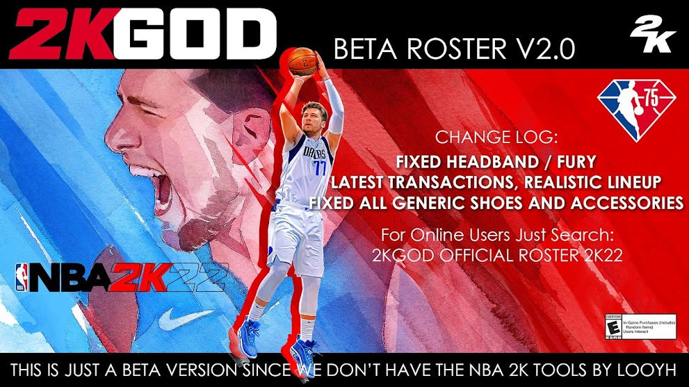 NBA 2K22 2KGOD Official Roster 2K22 (BETA V2.0) *FIXED ALL GENERIC AND MISSING SHOES HEADBAND FURY & HAIRDBAND
