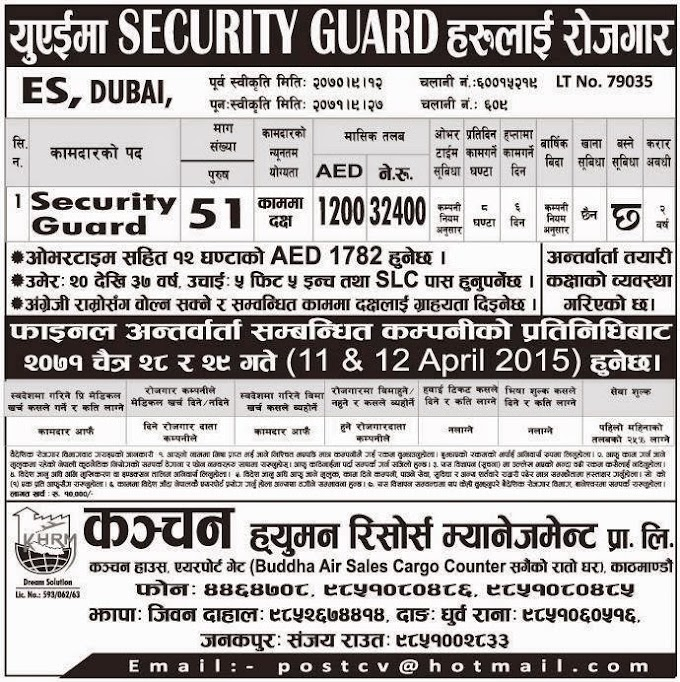 Job Vacancy in Dubai for Security Guards Salary Rs 32,400