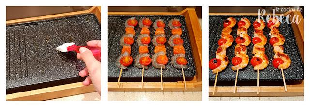 Receta de brochetas de langostinos con salmón: cocinado