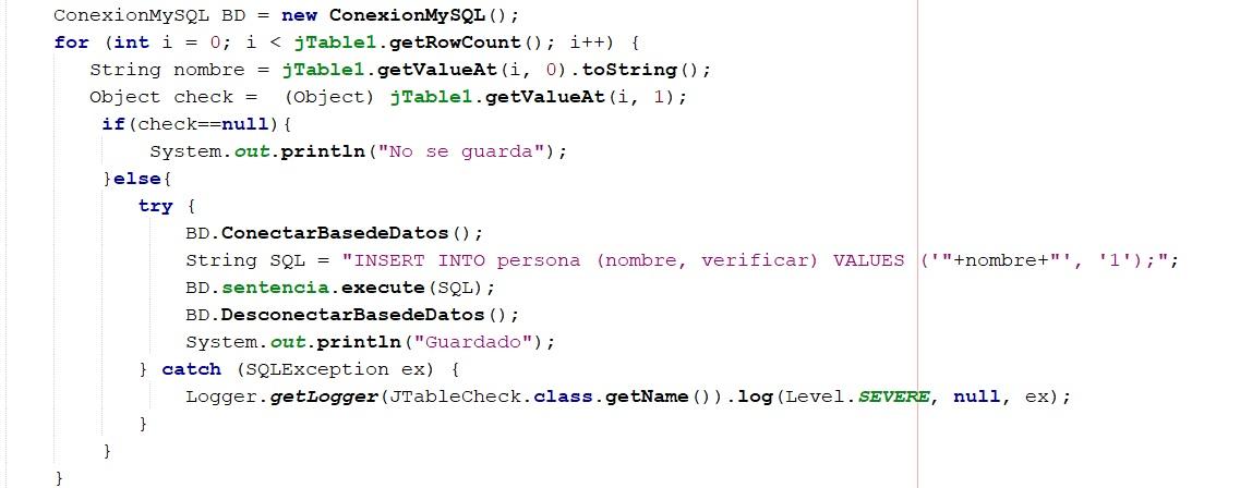 Guardar JCheckBox de JTable en MySQL