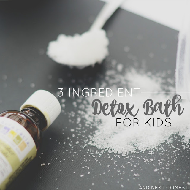 3 ingredient detox bath for kids using essential oils from And Next Comes L