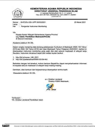 Surat Edaran Pengisian Instrumen Monitoring Penerapan KMA ...