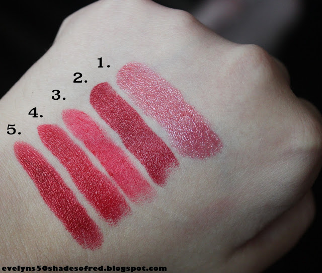 1. S-he Stylezone #135, 2. NYC #432 Red Rapture, 3. MUA Scarlet Siren, 4. Avon Kissable, 5. Astor #240.