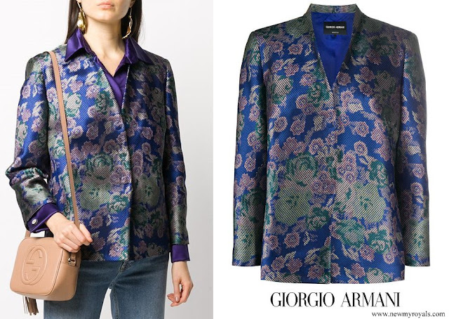 Queen Mathilde wore Giorgio Armani floral print lapelless jacket