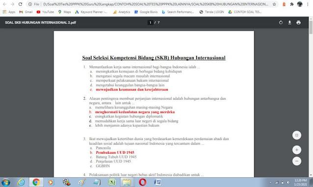 Contoh soal tes P3K Bidang Hubungan Internasional dan Kunci Jawaban