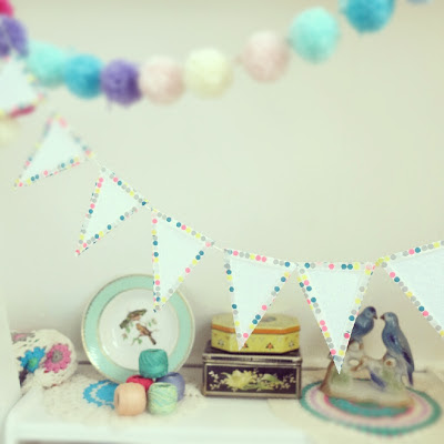 ByHaafner, bunting, garland, craftroom, washitape, crochet, doily, pastel, thrifted tins, vintage, yarn, pompons