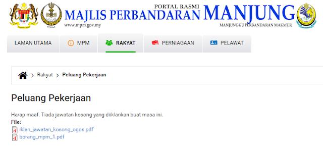 Rasmi - Jawatan Kosong (MPM) Majlis Perbandaran Manjung Terkini 2019