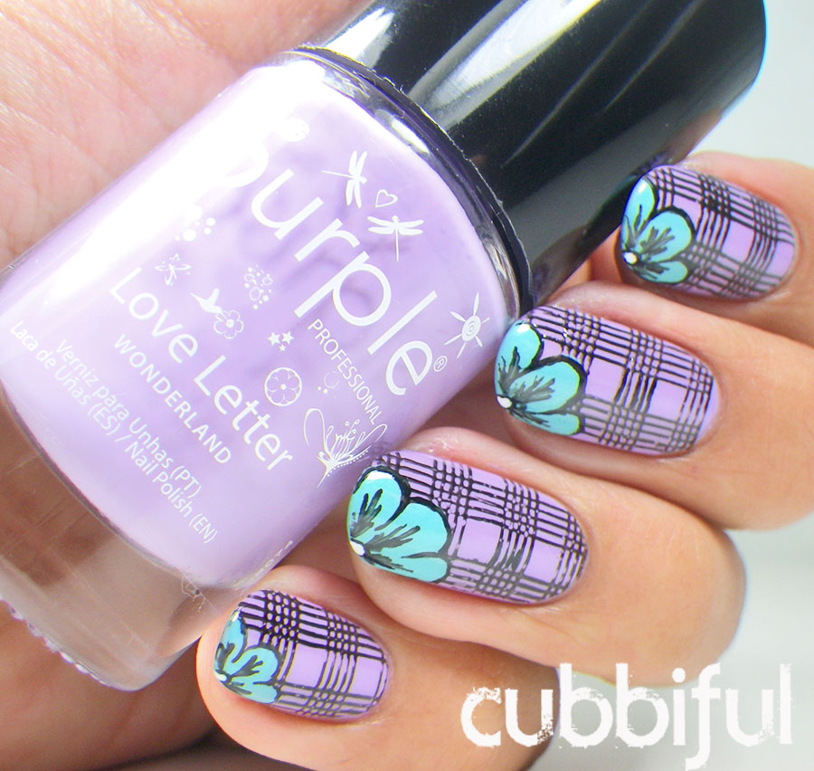 Flowers Over Stamping Plaid Nails using Purple Professional Love Letter