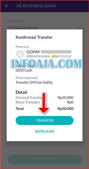 Konfirmasi transfer saldo OVO ke Gopay