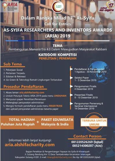 Lomba Penelitian & Penemuan Nasional ARIA 2019 Untuk Umum