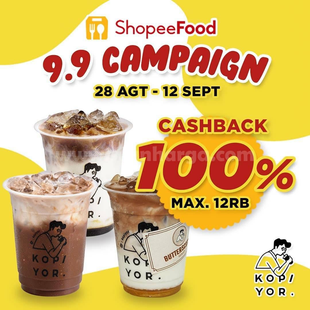 Promo KOPI YOR Cashback 100% via ShopeeFood