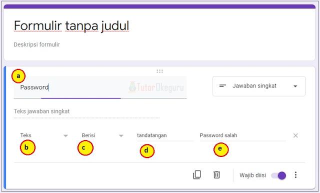 cara membuat password google form