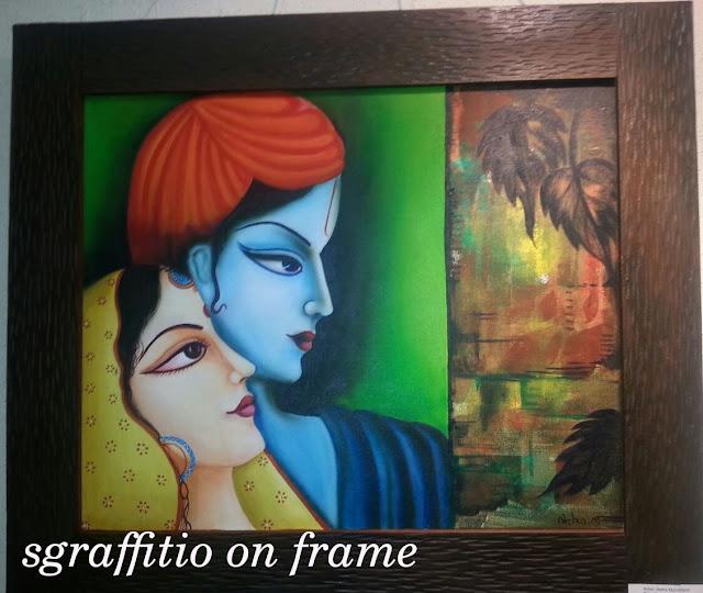 Radha Krishna Painting in Mughal form