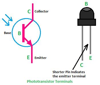 phototransistor terminals, terminals of phototransistor