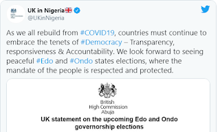 Edo, Ondo Elections: UK vow to sanction individuals who perpetuate violence