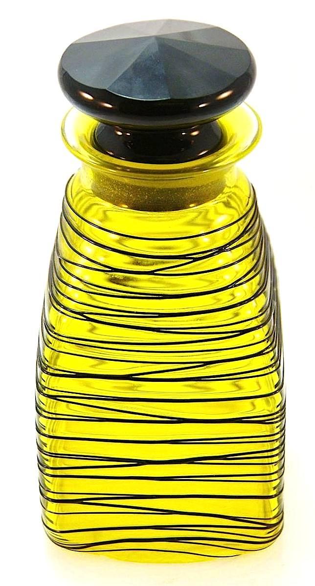 a yellw Steuben art-glass bottle, color photograph