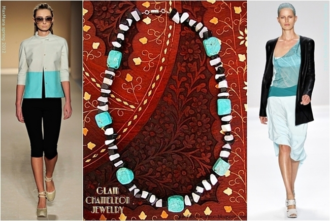Glam Chameleon Jewelry turquoise white agate chips black agate chips necklace