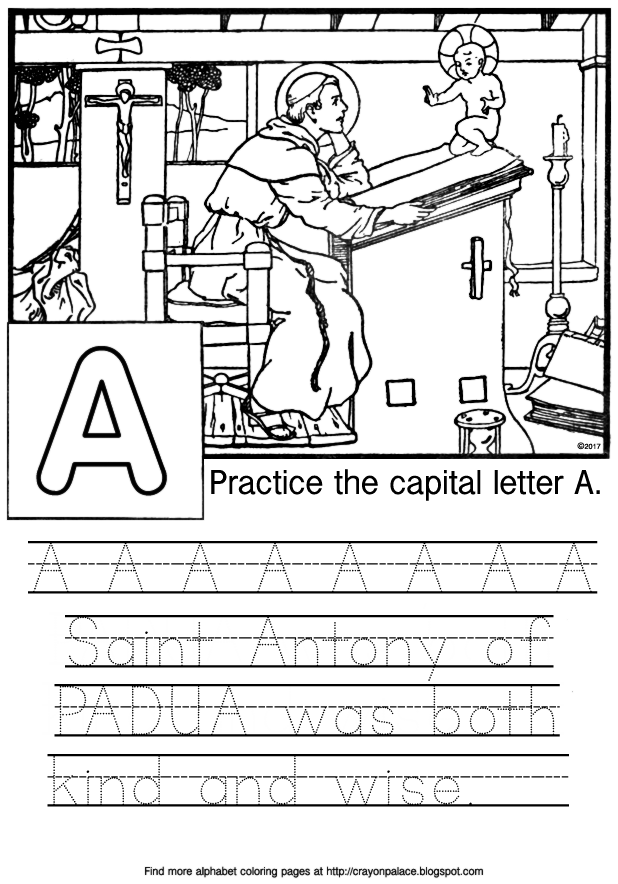 a is for saint antony alphabet coloring page