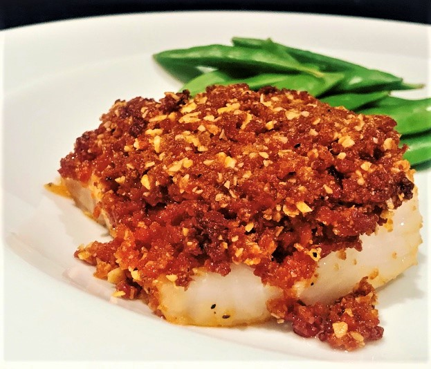 Baked Cod with a Chorizo Crumb