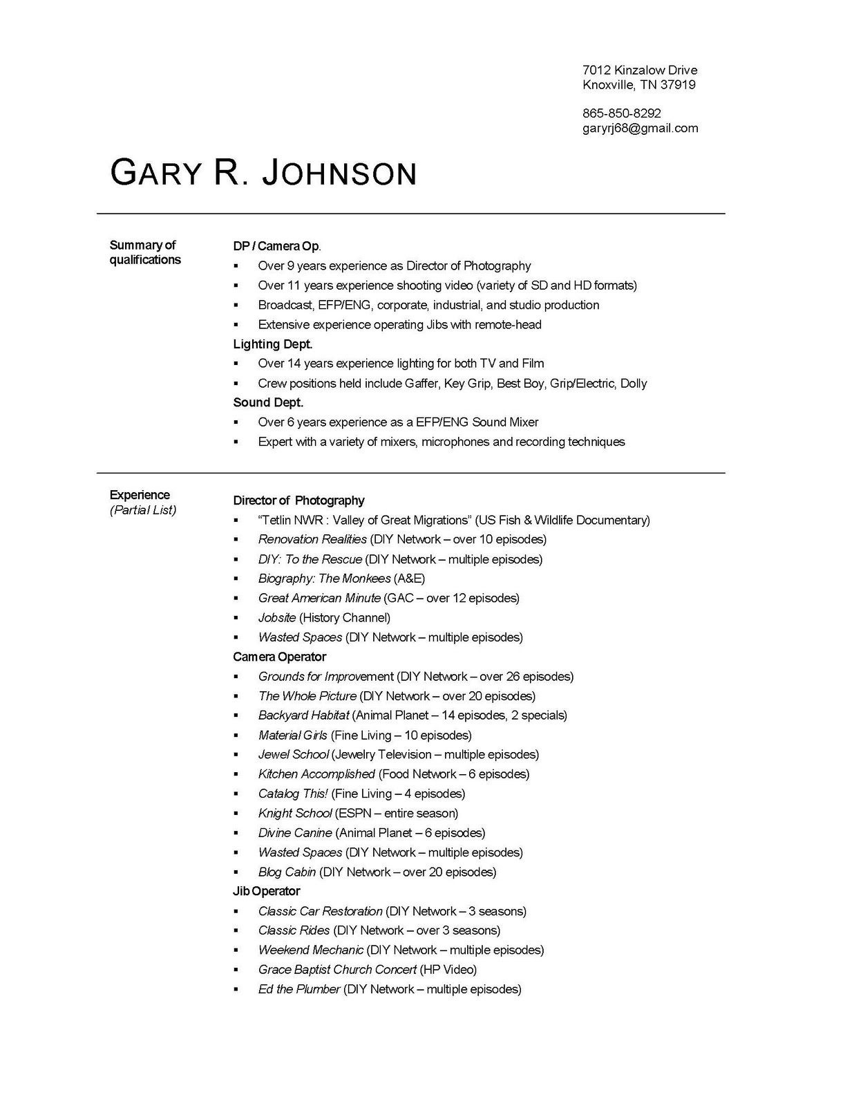 Gary R Johnson Director Of Photography Resume