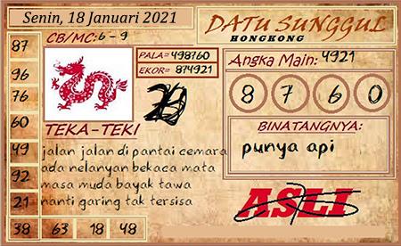 Prediksi HK Senin 18 Januari 2021 - Datu Sunggul