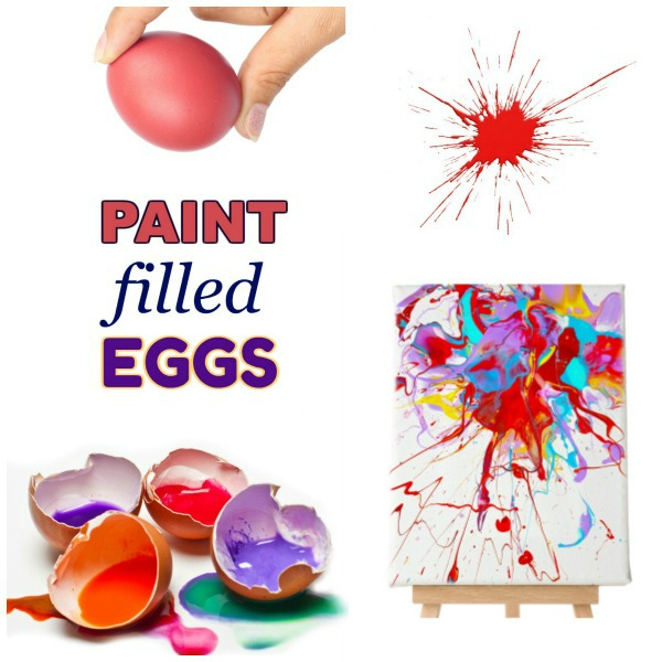 How to make paint filled eggs for kids.  #paintingideasoncanvas #paintfilledeggs #artsandcraftsforkids #craftsforkids #paintingideas #paintfilledeggsoncanvas #artprojects #artsandcrafts #activitiesforkids