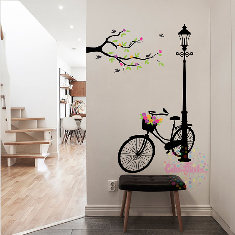 Vinilo decorativo bicicleta en farol con rama w402 cdm for Vinilos decorativos pared 3d