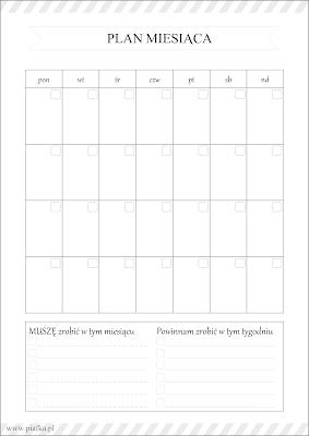 Planer miesiąca do pobrania