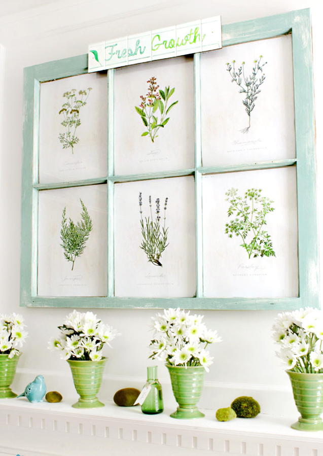 Spring mantel - green and aqua