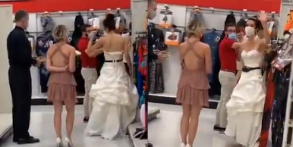 """""""Nos casamos o me voy"""", mujer acude al trabajo de su pareja vestida de novia y con sacerdote"""