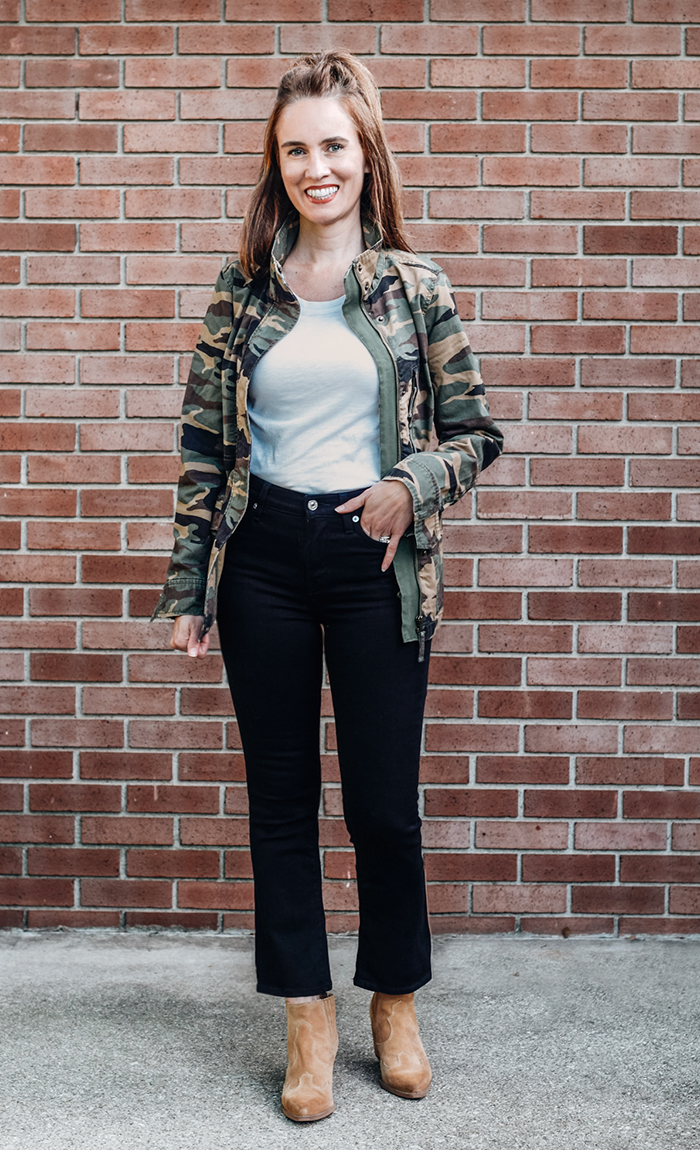 black jeans, camo jacket, fall outfit