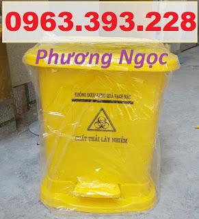Thùng đựng rác thải y tế 25L, thùng rác y tế đạp chân 25L, thùng rác nhựa đạp chân