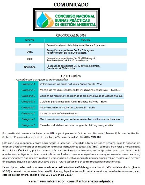 Concursos de gesti n ambiental ugel caman noticias for Concurso de plazas docentes 2016