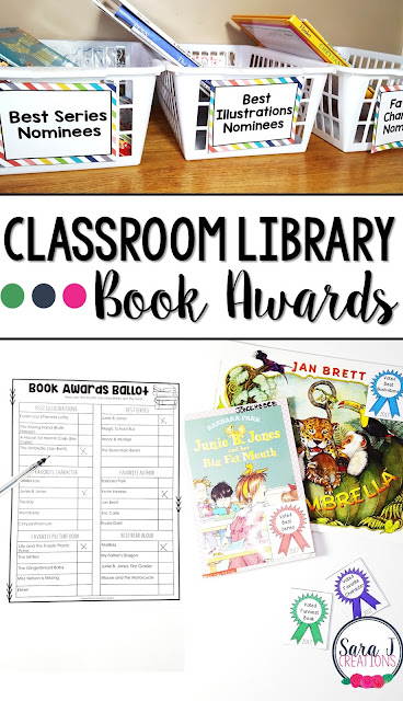 Great activity for March is Reading Month!  Classroom library book awards.