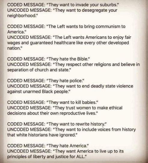 Coded Message:  They want to invade your suburbs. Uncoded Message:  They want to desegregate your neighborhood.  Coded Message:  The Left wants to bring communism to America. Uncoded Message:  The Left wants Americans to enjoy fair wages and guaranteed healthcare like every other developed nation.  Coded Message:  They hate the Bible. Uncoded Message:  They respect other religions and believe in separation of church and state.  Coded Message:  They hate police. Uncoded Message:  They want to end deadly state violence agains unarmed Black people.  Coded Message:  They want to kill babies. Uncoded Message:  They trust women to make ethical decisions about their own reproductive lives.  Coded Message:  They want to rewrite history. Uncoded Message:  They want to include voices from history that white historians have ignored.  Coded Message:  They hate America. Uncoded Message:  They want America to live up to its principles of liberty and justice for all.