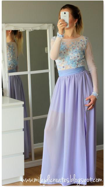 SUKNIA - body + spódnica. Efekt kilku miesięcy mojej pracy DIY, Suknia fioletowa niebieska koronkowa perełka, jedyny taki projekt, wyjątkowa suknia. Kwiaty 3d