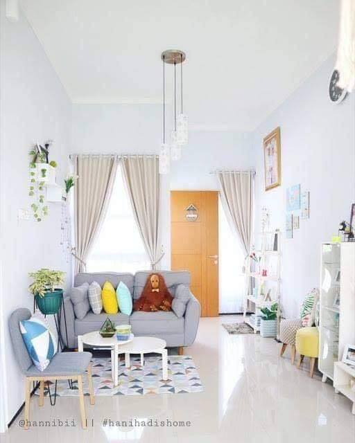 ruang tamu minimalis rumah type 36 luas tanah 72