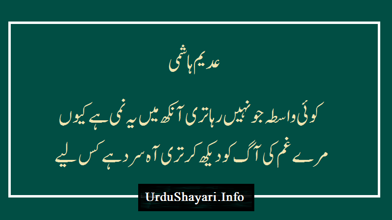 Koi Wasta Jo Sad Lines Urdu - Sad Shayari In Urdu 2 Lines - Urdu Poetry Image - Adeem Hasmi