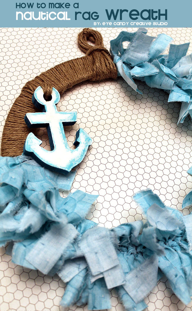 nautical decor, rag wreath, how to make a nautical rag wreath, beach theme