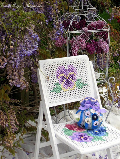 Cross Stitch Rattan Chair