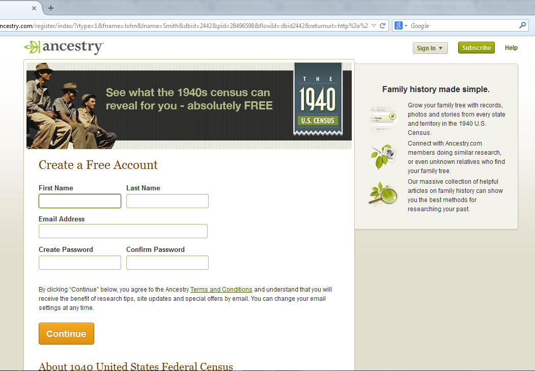 Genealogical Musings: Ancestry com Myths: No Free Account